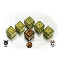 Q Workshop Warmachine Mercenaries Faction Green & Yellow 6 x D6 Dice Set - Discontinued