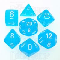 Chessex Frosted Caribbean Blue & White 7 Dice Polyset