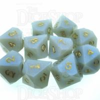 LTD EDITION GameScience Blue Opal & Gold Ink 10 x D10 Dice Set