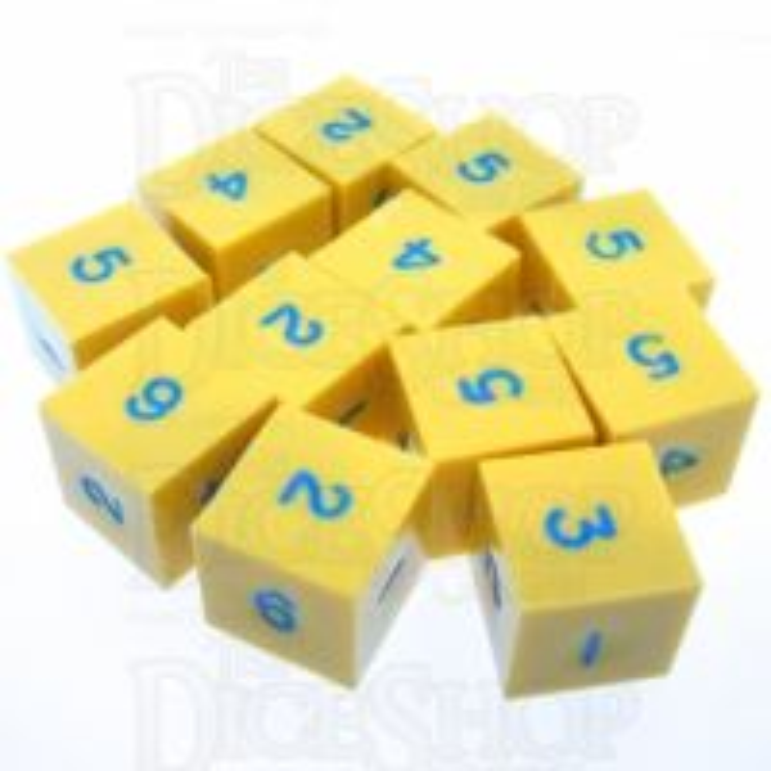 GameScience Opaque Saffron Yellow & Blue Ink 12 x D6 Dice Set