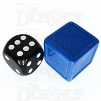 D&G Opaque Blank Blue Indented 19mm D6 Dice - For Stickers