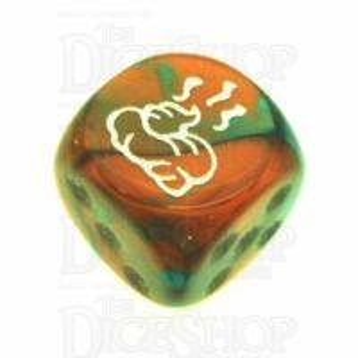 Chessex Gemini Copper & Teal SHIT Logo D6 Spot Dice