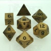 TDSO Metal Antique Gold Finish 7 Dice Polyset