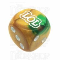 Chessex Gemini Gold & Green LOL Logo D6 Spot Dice