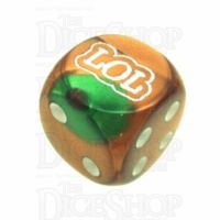 Chessex Gemini Green & Copper LOL Logo D6 Spot Dice