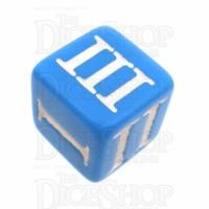 Impact Opaque Light Blue & White Roman Numeral D3 Dice