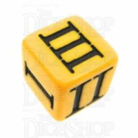 Impact Opaque Yellow & Black Roman Numeral D3 Dice