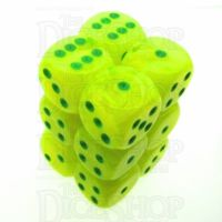 Chessex Vortex Electric Yellow & Green 12 x D6 Dice Set