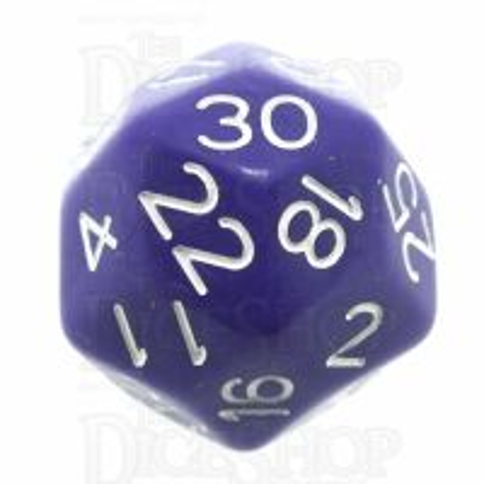 Impact Opaque Purple & White D30 Dice