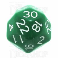 Impact Opaque Green & White D30 Dice