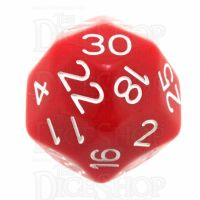 Impact Opaque Red & White D30 Dice