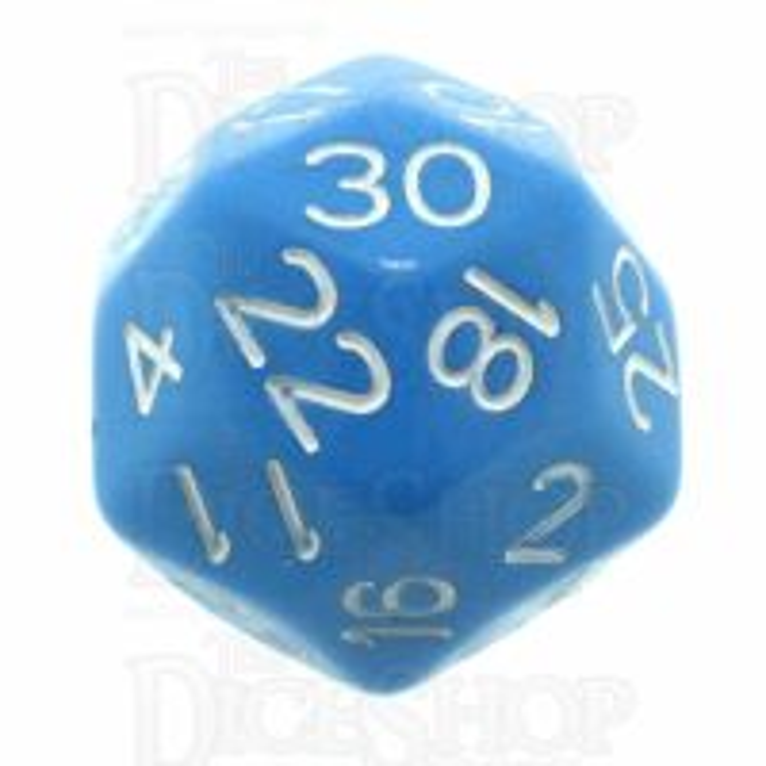 Impact Opaque Light Blue & White D30 Dice