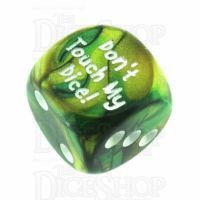 Chessex Gemini Gold & Green Don't Touch My Dice! Logo D6 Spot Dice