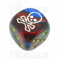 Chessex Gemini Blue & Red with Gold Skull Logo D6 Spot Dice