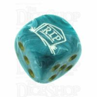 Chessex Vortex Teal RIP Logo D6 Spot Dice