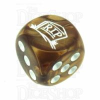Chessex Gemini Copper RIP Logo D6 Spot Dice