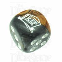 Chessex Gemini Copper & Steel RIP Logo D6 Spot Dice