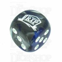 Chessex Gemini Blue & Steel RIP Logo D6 Spot Dice