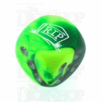Chessex Gemini Green & Yellow RIP Logo D6 Spot Dice