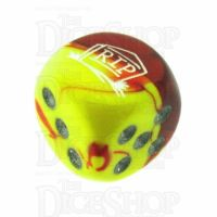 Chessex Gemini Red & Yellow RIP Logo D6 Spot Dice