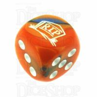 Chessex Gemini Blue & Orange RIP Logo D6 Spot Dice
