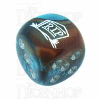 Chessex Gemini Copper & Teal RIP Logo D6 Spot Dice