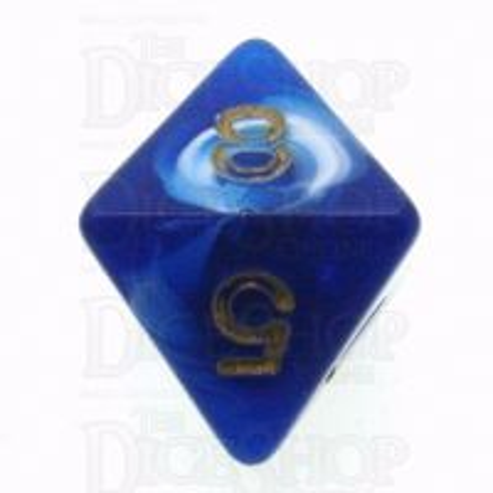 D&G Marble Blue & White D8 Dice