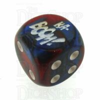Chessex Gemini Blue & Red with White KA-BOOM! Logo D6 Spot Dice