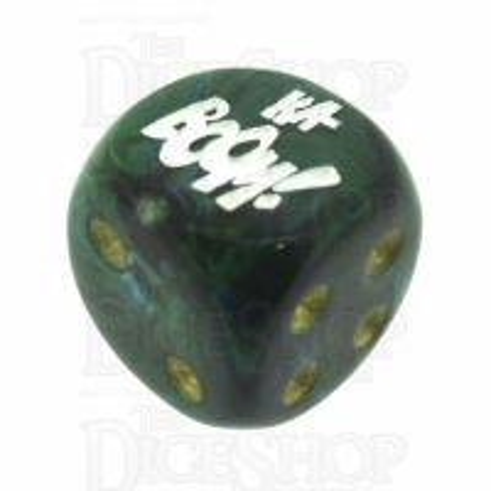 Chessex Scarab Jade KA-BOOM! Logo D6 Spot Dice