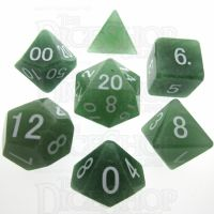 TDSO Aventurine Green 16mm Precious Gem 7 Dice Polyset