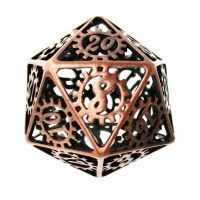 TDSO Metal Copper Steampunk Skeleton D20 Dice