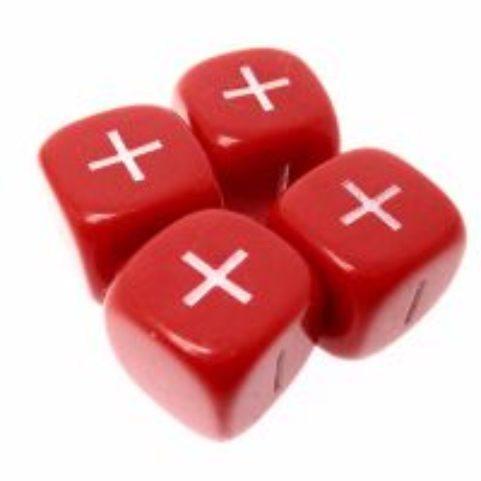 D&G Opaque Red & White Fudge Fate 4 x D6 Dice Set