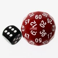 TDSO Opaque Red & White 38mm D60 Dice