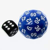 TDSO Opaque Blue & White 38mm D60 Dice