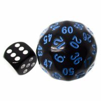 TDSO Opaque Black & Blue 38mm D60 Dice