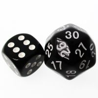 TDSO Opaque Black & White 25mm D30 Dice