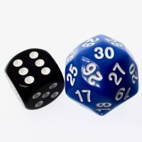 TDSO Opaque Blue & White 25mm D30 Dice