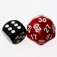 TDSO Opaque Red & White 25mm D30 Dice