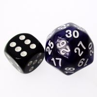 TDSO Pearl Purple & White 25mm D30 Dice