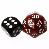 TDSO Opaque Brown & White 25mm D30 Dice