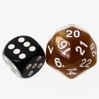 TDSO Pearl Golden & White 25mm D30 Dice