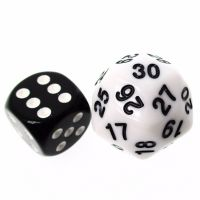 TDSO Opaque White & Black 25mm D30 Dice