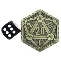 TDSO Metal Crit & Miss Ancient Bronze D2 Dice Coin