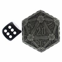 TDSO Metal Crit & Miss Ancient Silver D2 Dice Coin