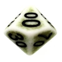 TDSO Opaque Antique Ghostly Green Percentile Dice