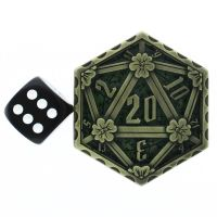 TDSO Metal Crit & Miss Ancient Gold & Green Enamel D2 Dice Coin