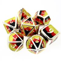 TDSO Metal Fire Forged Multi Colour Black Nickel Orange Red & Yellow 7 Dice Polyset