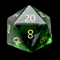 TDSO Zircon Glass Emerald with Engraved Numbers 16mm Precious Gem D20 Dice
