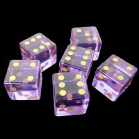 TDSO Zircon Glass Amethyst with Engraved Numbers 16mm Precious Gem  6 x D6 Dice Set