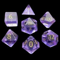 TDSO Zircon Glass Amethyst with Engraved Numbers 16mm Precious Gem 7 Dice Polyset